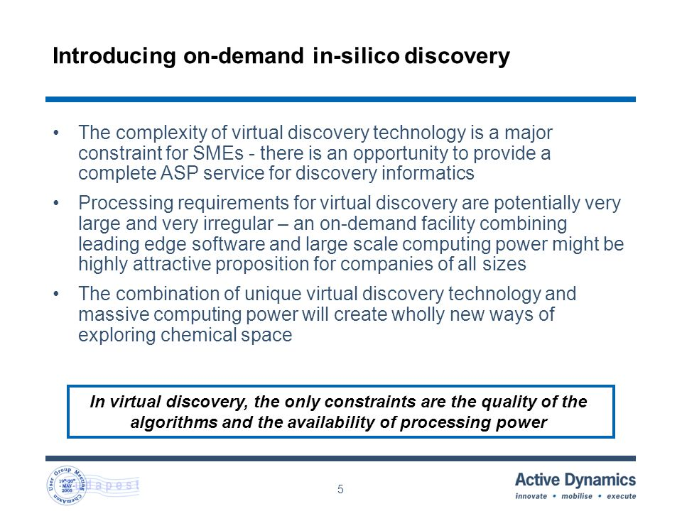 5 Introducing on-demand in-silico discovery In virtual discovery, the only constraints are the quality of the algorithms and the availability of processing power The complexity of virtual discovery technology is a major constraint for SMEs - there is an opportunity to provide a complete ASP service for discovery informatics Processing requirements for virtual discovery are potentially very large and very irregular – an on-demand facility combining leading edge software and large scale computing power might be highly attractive proposition for companies of all sizes The combination of unique virtual discovery technology and massive computing power will create wholly new ways of exploring chemical space