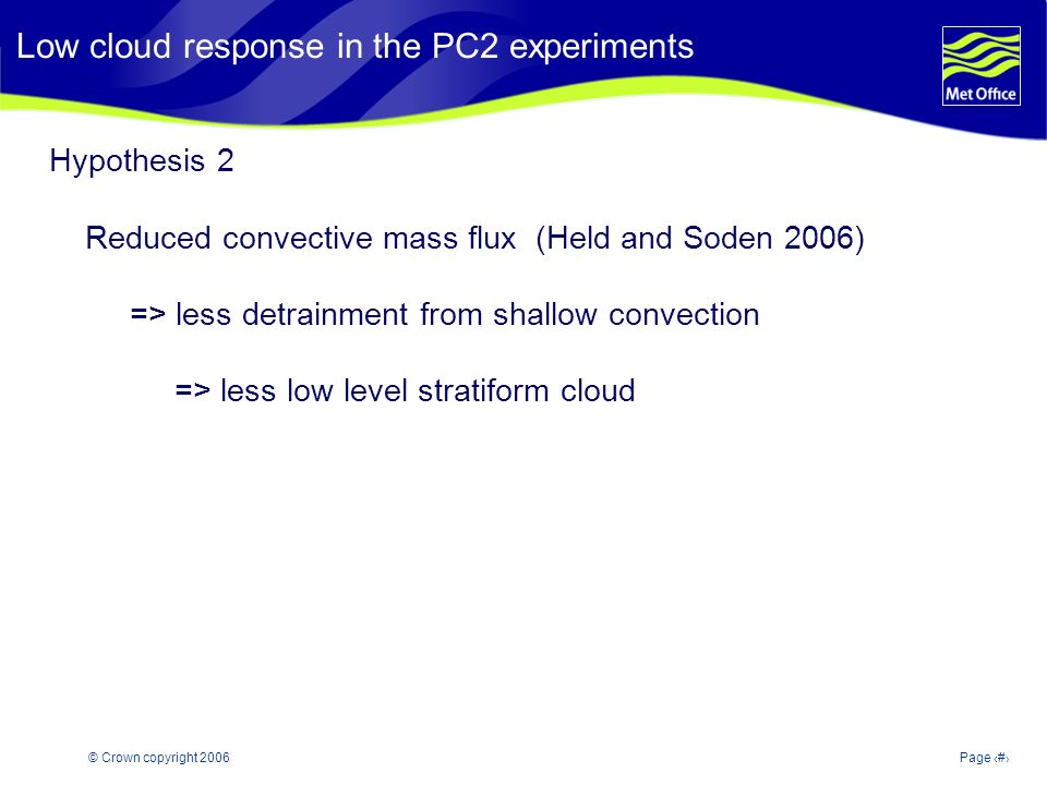 © Crown copyright 2006Page 13 Modelling and Prediction of Climate variability and change Hypothesis 2 Reduced convective mass flux (Held and Soden 2006) => less detrainment from shallow convection => less low level stratiform cloud Low cloud response in the PC2 experiments
