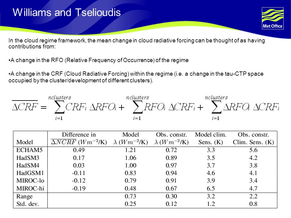 © Crown copyright 2006Page 12 In the cloud regime framework, the mean change in cloud radiative forcing can be thought of as having contributions from: A change in the RFO (Relative Frequency of Occurrence) of the regime A change in the CRF (Cloud Radiative Forcing) within the regime (i.e.