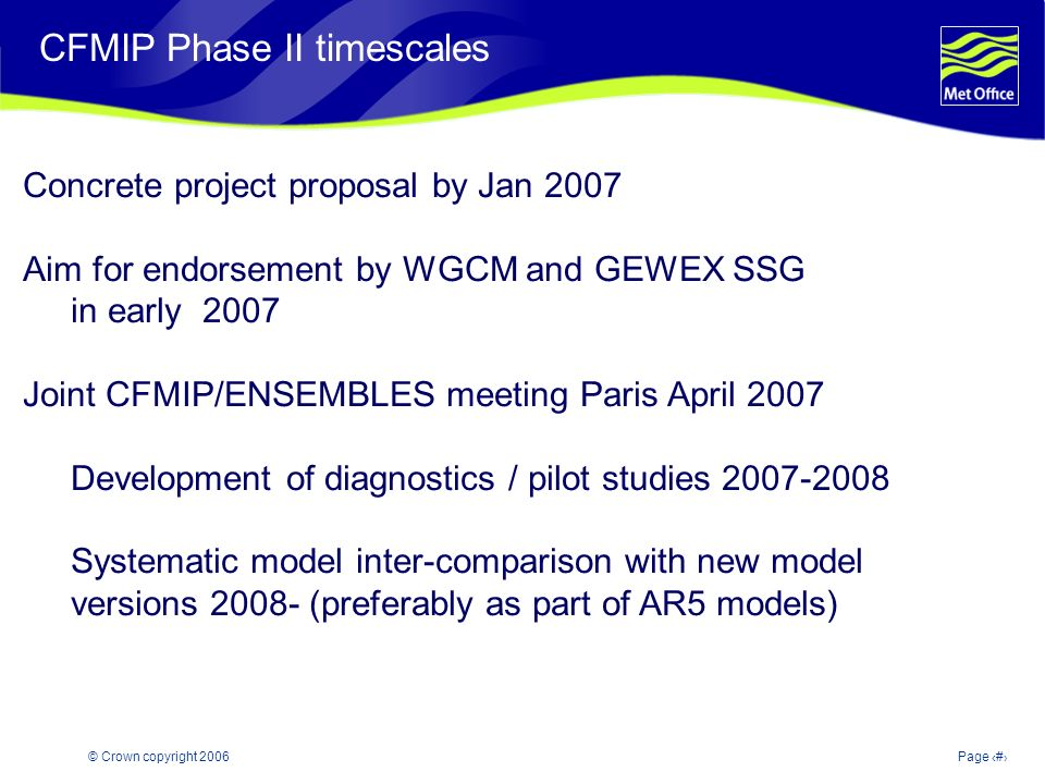 © Crown copyright 2006Page 27 Modelling and Prediction of Climate variability and change CFMIP Phase II timescales Concrete project proposal by Jan 2007 Aim for endorsement by WGCM and GEWEX SSG in early 2007 Joint CFMIP/ENSEMBLES meeting Paris April 2007 Development of diagnostics / pilot studies Systematic model inter-comparison with new model versions (preferably as part of AR5 models)