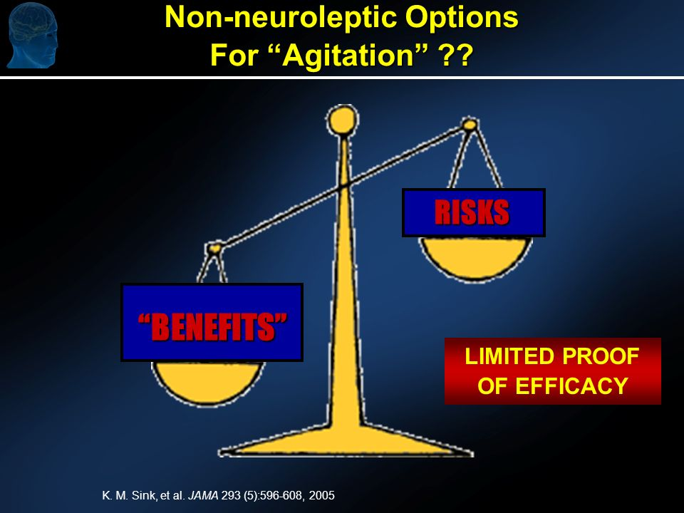Non-neuroleptic Options For Agitation . BENEFITS RISKS LIMITED PROOF OF EFFICACY K.