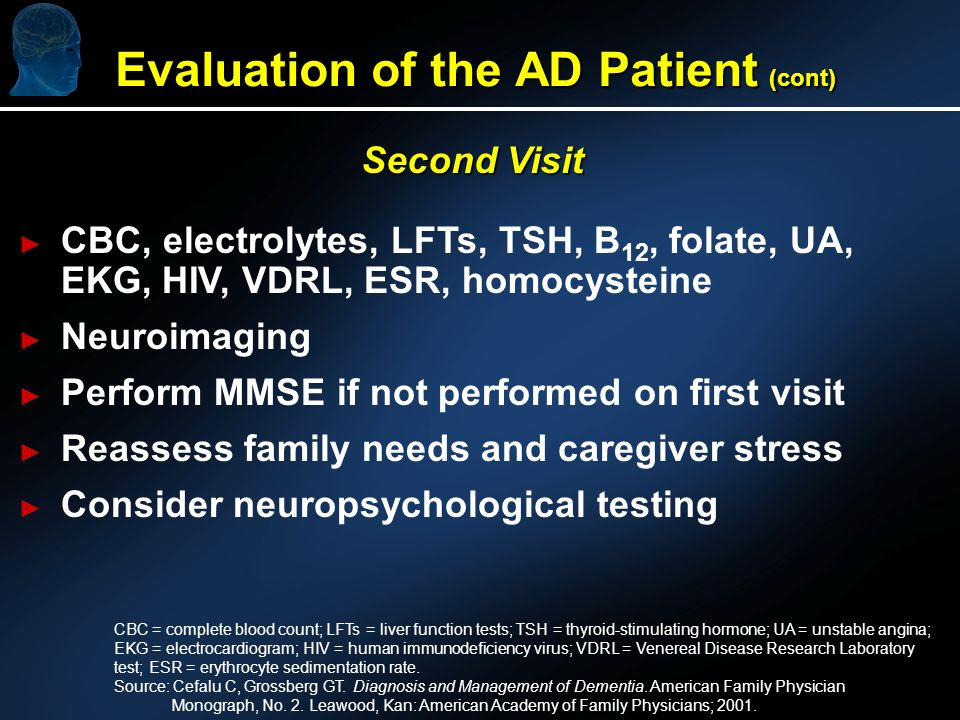 Second Visit CBC, electrolytes, LFTs, TSH, B 12, folate, UA, EKG, HIV, VDRL, ESR, homocysteine Neuroimaging Perform MMSE if not performed on first visit Reassess family needs and caregiver stress Consider neuropsychological testing CBC = complete blood count; LFTs = liver function tests; TSH = thyroid-stimulating hormone; UA = unstable angina; EKG = electrocardiogram; HIV = human immunodeficiency virus; VDRL = Venereal Disease Research Laboratory test; ESR = erythrocyte sedimentation rate.