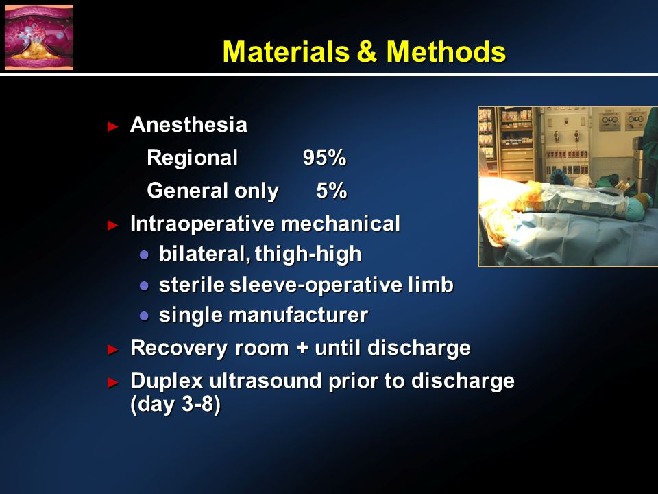 Materials & Methods Anesthesia Anesthesia Regional95% General only 5% Intraoperative mechanical Intraoperative mechanical l bilateral, thigh-high l sterile sleeve-operative limb l single manufacturer Recovery room + until discharge Recovery room + until discharge Duplex ultrasound prior to discharge (day 3-8) Duplex ultrasound prior to discharge (day 3-8)