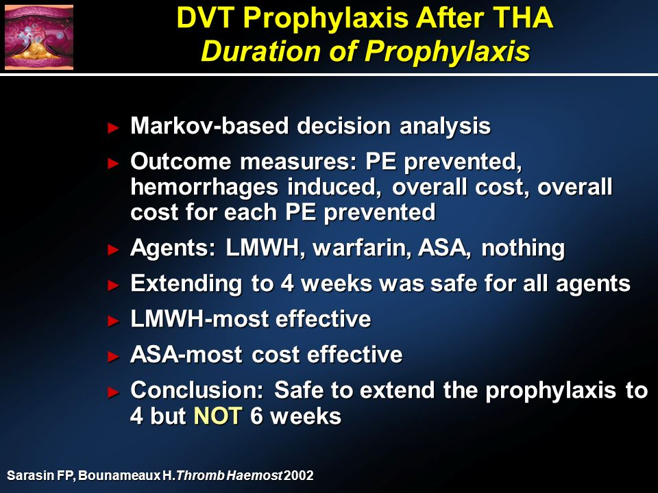 DVT Prophylaxis After THA Duration of Prophylaxis Markov-based decision analysis Markov-based decision analysis Outcome measures: PE prevented, hemorrhages induced, overall cost, overall cost for each PE prevented Outcome measures: PE prevented, hemorrhages induced, overall cost, overall cost for each PE prevented Agents: LMWH, warfarin, ASA, nothing Agents: LMWH, warfarin, ASA, nothing Extending to 4 weeks was safe for all agents Extending to 4 weeks was safe for all agents LMWH-most effective LMWH-most effective ASA-most cost effective ASA-most cost effective Conclusion: Safe to extend the prophylaxis to 4 but NOT 6 weeks Conclusion: Safe to extend the prophylaxis to 4 but NOT 6 weeks Sarasin FP, Bounameaux H.Thromb Haemost 2002
