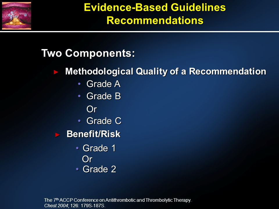 Evidence-Based Guidelines Recommendations Two Components: Benefit/Risk Benefit/Risk Methodological Quality of a Recommendation Methodological Quality of a Recommendation The 7 th ACCP Conference on Antithrombotic and Thrombolytic Therapy.