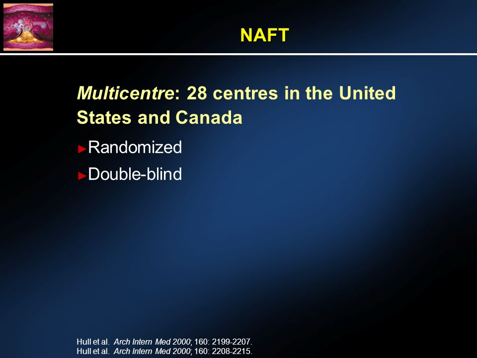Multicentre: 28 centres in the United States and Canada Randomized Double-blind NAFT Hull et al.