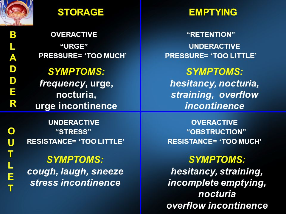 STORAGEEMPTYING BLADDERBLADDER OUTLETOUTLET OVERACTIVE UNDERACTIVE OVERACTIVE URGE RETENTION STRESSOBSTRUCTION PRESSURE= TOO MUCHPRESSURE= TOO LITTLE RESISTANCE= TOO LITTLERESISTANCE= TOO MUCH SYMPTOMS: frequency, urge, nocturia, urge incontinence SYMPTOMS: hesitancy, nocturia, straining, overflow incontinence SYMPTOMS: cough, laugh, sneeze stress incontinence SYMPTOMS: hesitancy, straining, incomplete emptying, nocturia overflow incontinence