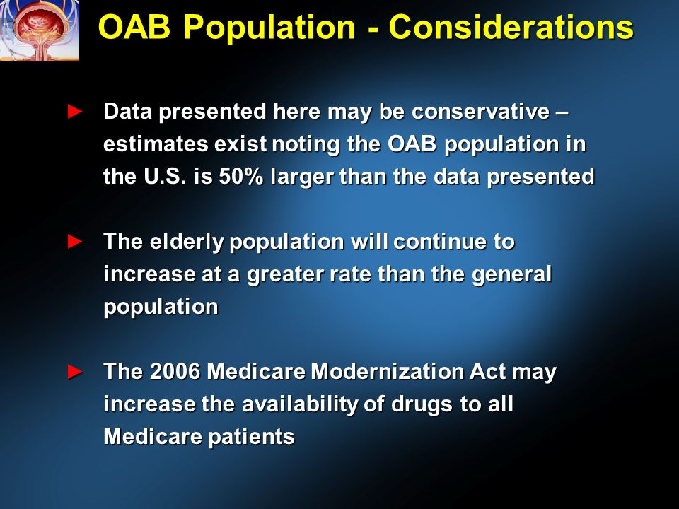 OAB Population - Considerations Data presented here may be conservative – estimates exist noting the OAB population in the U.S.