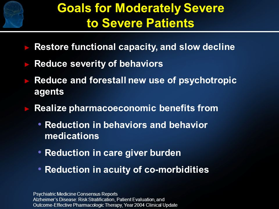 Restore functional capacity, and slow decline Reduce severity of behaviors Reduce and forestall new use of psychotropic agents Realize pharmacoeconomic benefits from Reduction in behaviors and behavior medications Reduction in care giver burden Reduction in acuity of co-morbidities Goals for Moderately Severe to Severe Patients Psychiatric Medicine Consensus Reports Alzheimers Disease: Risk Stratification, Patient Evaluation, and Outcome-Effective Pharmacologic Therapy, Year 2004 Clinical Update