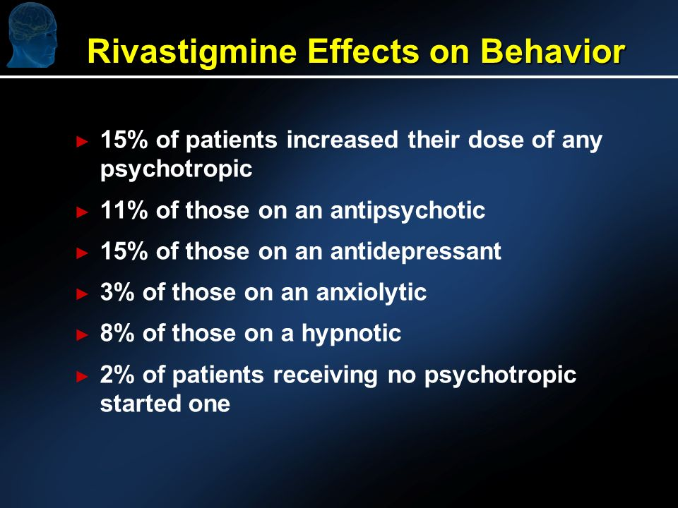 Rivastigmine Effects on Behavior 15% of patients increased their dose of any psychotropic 11% of those on an antipsychotic 15% of those on an antidepressant 3% of those on an anxiolytic 8% of those on a hypnotic 2% of patients receiving no psychotropic started one