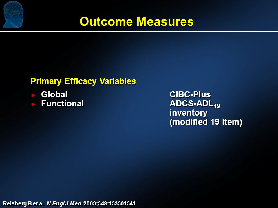Outcome Measures Primary Efficacy Variables GlobalCIBC-Plus GlobalCIBC-Plus FunctionalADCS-ADL 19 FunctionalADCS-ADL 19inventory (modified 19 item) Reisberg B et al.