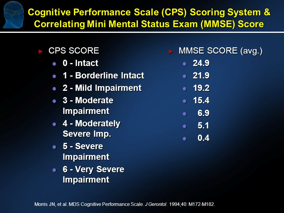 Cognitive Performance Scale (CPS) Scoring System & Correlating Mini Mental Status Exam (MMSE) Score CPS SCORE CPS SCORE l 0 - Intact l 1 - Borderline Intact l 2 - Mild Impairment l 3 - Moderate Impairment l 4 - Moderately Severe Imp.