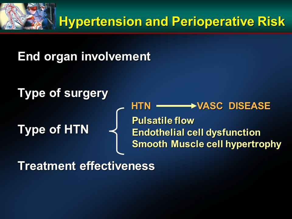 Hypertension and Perioperative Risk End organ involvement Type of surgery Type of HTN Treatment effectiveness Pulsatile flow Endothelial cell dysfunction Smooth Muscle cell hypertrophy HTN VASC DISEASE