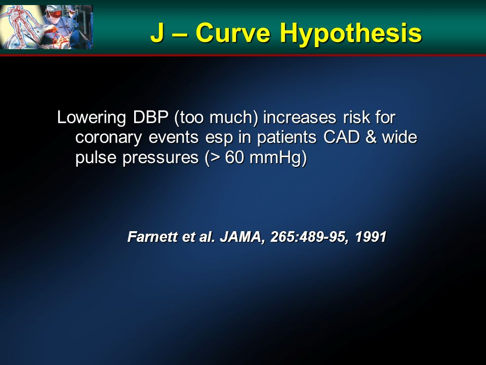 J – Curve Hypothesis Lowering DBP (too much) increases risk for coronary events esp in patients CAD & wide pulse pressures (> 60 mmHg) Farnett et al.