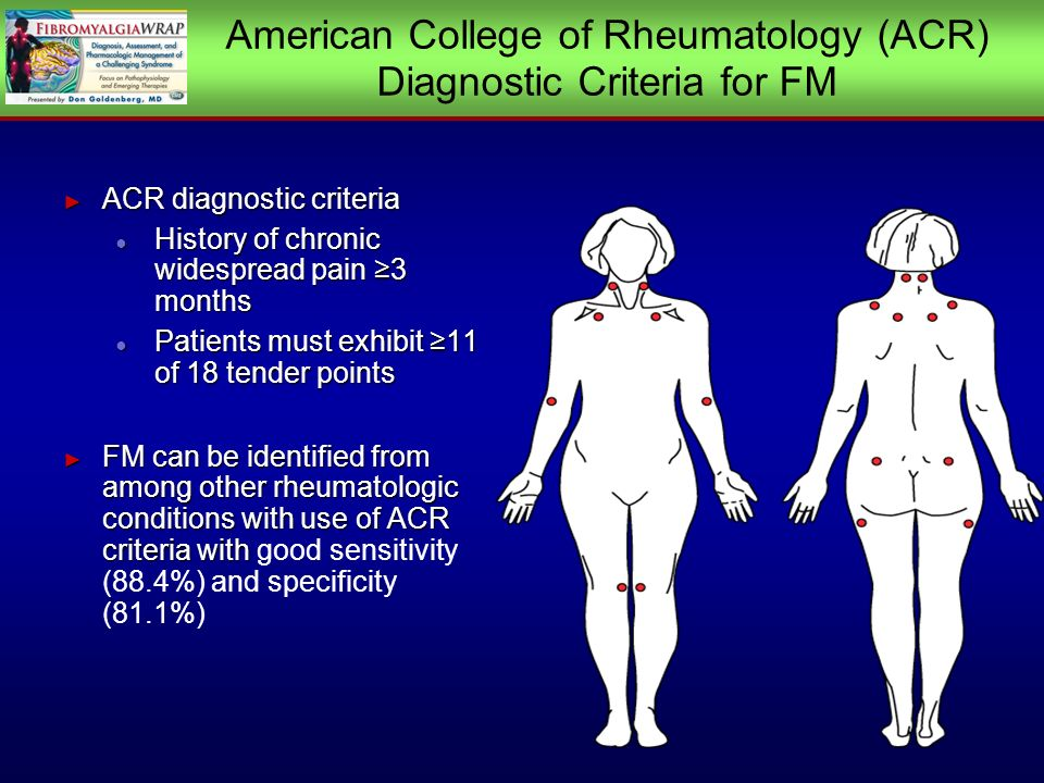 American College of Rheumatology (ACR) Diagnostic Criteria for FM ACR diagnostic criteria ACR diagnostic criteria History of chronic widespread pain 3 months History of chronic widespread pain 3 months Patients must exhibit 11 of 18 tender points Patients must exhibit 11 of 18 tender points FM can be identified from among other rheumatologic conditions with use of ACR criteria with FM can be identified from among other rheumatologic conditions with use of ACR criteria with good sensitivity (88.4%) and specificity (81.1%) ACR diagnostic criteria ACR diagnostic criteria History of chronic widespread pain 3 months History of chronic widespread pain 3 months Patients must exhibit 11 of 18 tender points Patients must exhibit 11 of 18 tender points FM can be identified from among other rheumatologic conditions with use of ACR criteria with FM can be identified from among other rheumatologic conditions with use of ACR criteria with good sensitivity (88.4%) and specificity (81.1%)