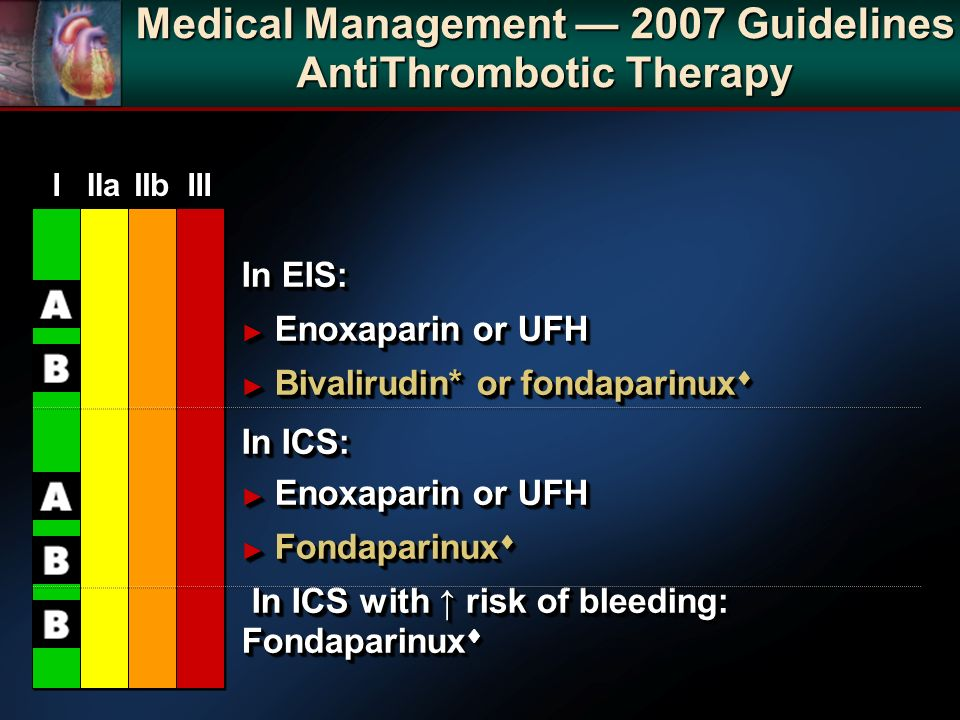 Medical Management 2007 Guidelines AntiThrombotic Therapy In EIS: Enoxaparin or UFH Enoxaparin or UFH Bivalirudin* or fondaparinux Bivalirudin* or fondaparinux In ICS: In ICS: Enoxaparin or UFH Enoxaparin or UFH Fondaparinux Fondaparinux In ICS with risk of bleeding: Fondaparinux In ICS with risk of bleeding: Fondaparinux In EIS: Enoxaparin or UFH Enoxaparin or UFH Bivalirudin* or fondaparinux Bivalirudin* or fondaparinux In ICS: In ICS: Enoxaparin or UFH Enoxaparin or UFH Fondaparinux Fondaparinux In ICS with risk of bleeding: Fondaparinux In ICS with risk of bleeding: Fondaparinux IIIIaIIaIIbIIbIIIIII