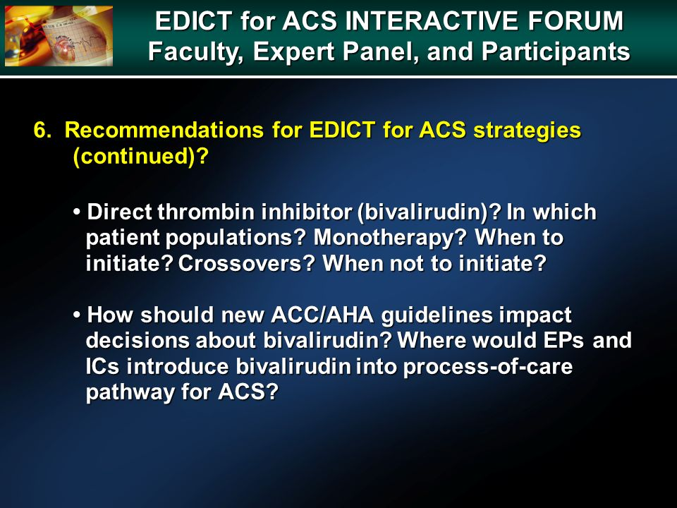 6. Recommendations for EDICT for ACS strategies (continued).