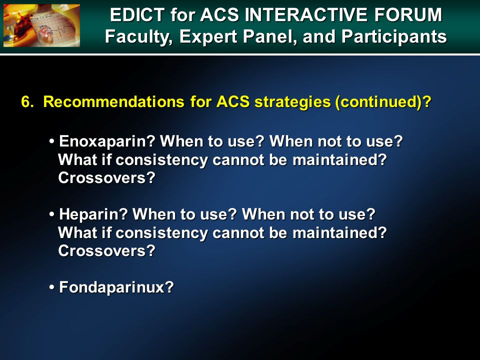 6. Recommendations for ACS strategies (continued).