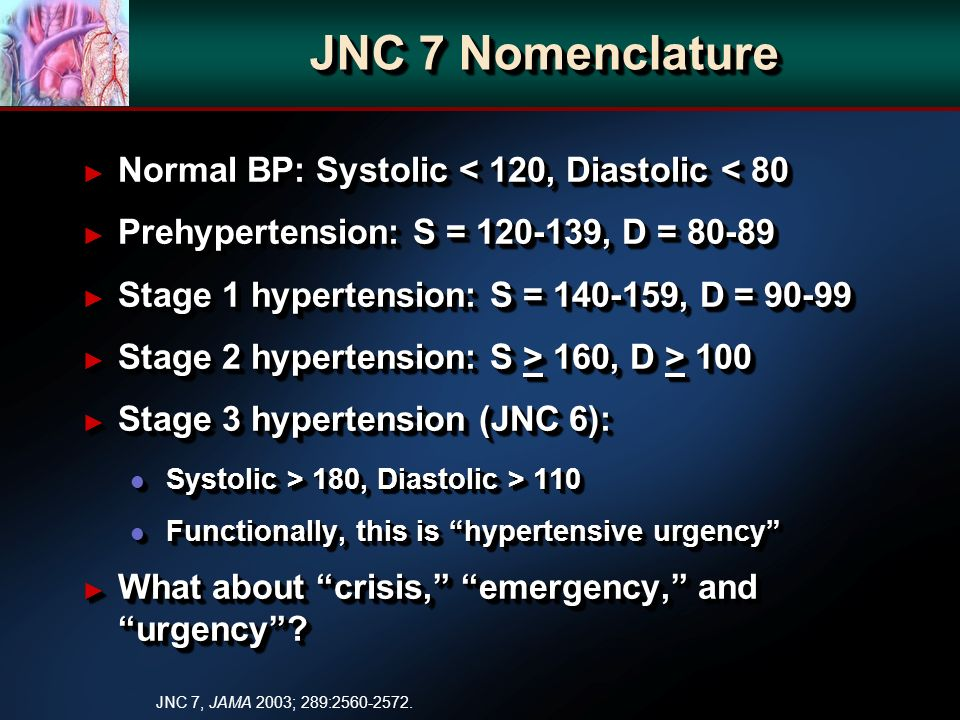 JNC 7 Nomenclature Normal BP: Systolic < 120, Diastolic < 80 Normal BP: Systolic < 120, Diastolic < 80 Prehypertension: S = 120-139, D = 80-89 Prehypertension: S = 120-139, D = 80-89 Stage 1 hypertension: S = 140-159, D = 90-99 Stage 1 hypertension: S = 140-159, D = 90-99 Stage 2 hypertension: S > 160, D > 100 Stage 2 hypertension: S > 160, D > 100 Stage 3 hypertension (JNC 6): Stage 3 hypertension (JNC 6): l Systolic > 180, Diastolic > 110 l Functionally, this is hypertensive urgency What about crisis, emergency, and urgency.