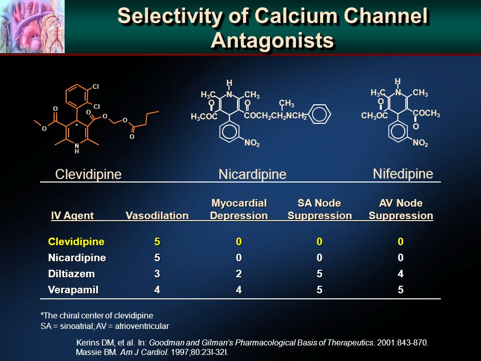 Selectivity of Calcium Channel Antagonists MyocardialSA NodeAV Node MyocardialSA NodeAV Node IV AgentVasodilationDepressionSuppressionSuppression IV AgentVasodilationDepressionSuppressionSuppression Clevidipine5000 Clevidipine5000 Nicardipine5000 Nicardipine5000 Diltiazem3254 Diltiazem3254 Verapamil4455 Verapamil4455 *The chiral center of clevidipine SA = sinoatrial; AV = atrioventricular Clevidipine Cl O O O O N H O O * COCH 2 CH 2 NCH 2 NO 2 CH 3 O N H O H3CH3C H 3 COC Nifedipine NO 2 COCH 3 CH 3 O N H O H3CH3C CH 3 OC Nicardipine Kerins DM, et al.