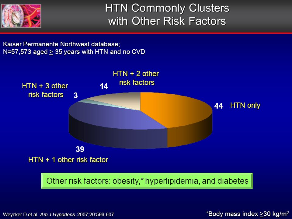 HTN Commonly Clusters with Other Risk Factors HTN + 1 other risk factor HTN + 3 other risk factors risk factors HTN + 2 other risk factors risk factors HTN only *Body mass index >30 kg/m 2 Kaiser Permanente Northwest database; N=57,573 aged > 35 years with HTN and no CVD Weycker D et al.