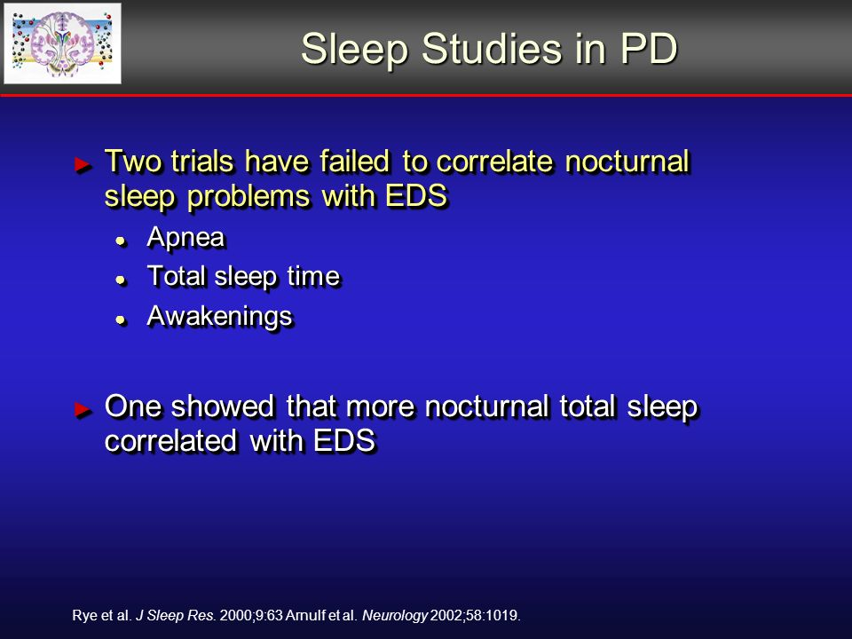 Sleep Studies in PD Two trials have failed to correlate nocturnal sleep problems with EDS Two trials have failed to correlate nocturnal sleep problems with EDS Apnea Apnea Total sleep time Total sleep time Awakenings Awakenings One showed that more nocturnal total sleep correlated with EDS One showed that more nocturnal total sleep correlated with EDS Two trials have failed to correlate nocturnal sleep problems with EDS Two trials have failed to correlate nocturnal sleep problems with EDS Apnea Apnea Total sleep time Total sleep time Awakenings Awakenings One showed that more nocturnal total sleep correlated with EDS One showed that more nocturnal total sleep correlated with EDS Rye et al.
