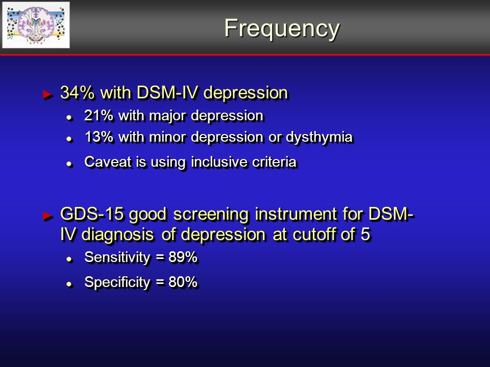 Frequency 34% with DSM-IV depression 34% with DSM-IV depression 21% with major depression 21% with major depression 13% with minor depression or dysthymia 13% with minor depression or dysthymia Caveat is using inclusive criteria Caveat is using inclusive criteria GDS-15 good screening instrument for DSM- IV diagnosis of depression at cutoff of 5 GDS-15 good screening instrument for DSM- IV diagnosis of depression at cutoff of 5 Sensitivity = 89% Sensitivity = 89% Specificity = 80% Specificity = 80% 34% with DSM-IV depression 34% with DSM-IV depression 21% with major depression 21% with major depression 13% with minor depression or dysthymia 13% with minor depression or dysthymia Caveat is using inclusive criteria Caveat is using inclusive criteria GDS-15 good screening instrument for DSM- IV diagnosis of depression at cutoff of 5 GDS-15 good screening instrument for DSM- IV diagnosis of depression at cutoff of 5 Sensitivity = 89% Sensitivity = 89% Specificity = 80% Specificity = 80%