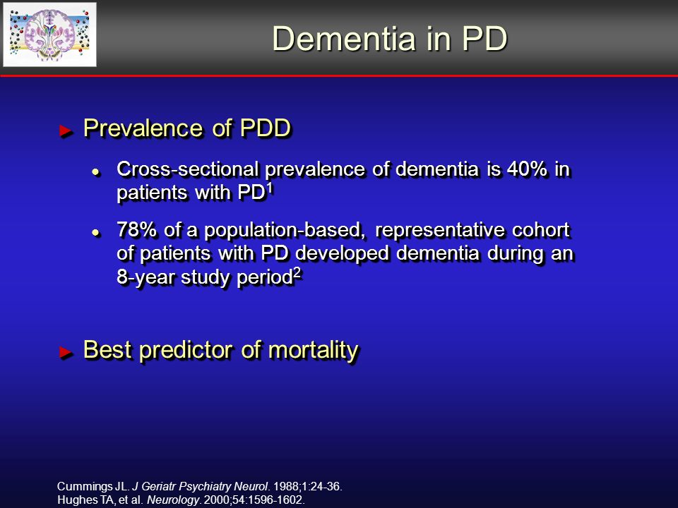 Dementia in PD Prevalence of PDD Prevalence of PDD Cross-sectional prevalence of dementia is 40% in patients with PD 1 Cross-sectional prevalence of dementia is 40% in patients with PD 1 78% of a population-based, representative cohort of patients with PD developed dementia during an 8-year study period 2 78% of a population-based, representative cohort of patients with PD developed dementia during an 8-year study period 2 Best predictor of mortality Best predictor of mortality Prevalence of PDD Prevalence of PDD Cross-sectional prevalence of dementia is 40% in patients with PD 1 Cross-sectional prevalence of dementia is 40% in patients with PD 1 78% of a population-based, representative cohort of patients with PD developed dementia during an 8-year study period 2 78% of a population-based, representative cohort of patients with PD developed dementia during an 8-year study period 2 Best predictor of mortality Best predictor of mortality Cummings JL.