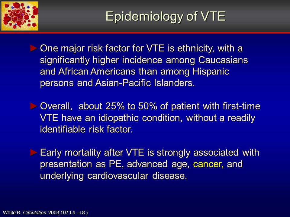 Epidemiology of VTE White R. Circulation.