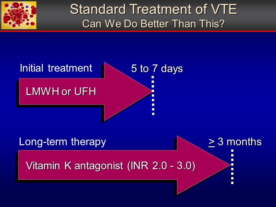 Vitamin K antagonist (INR ) > 3 months LMWH or UFH 5 to 7 days Initial treatment Long-term therapy Standard Treatment of VTE Can We Do Better Than This