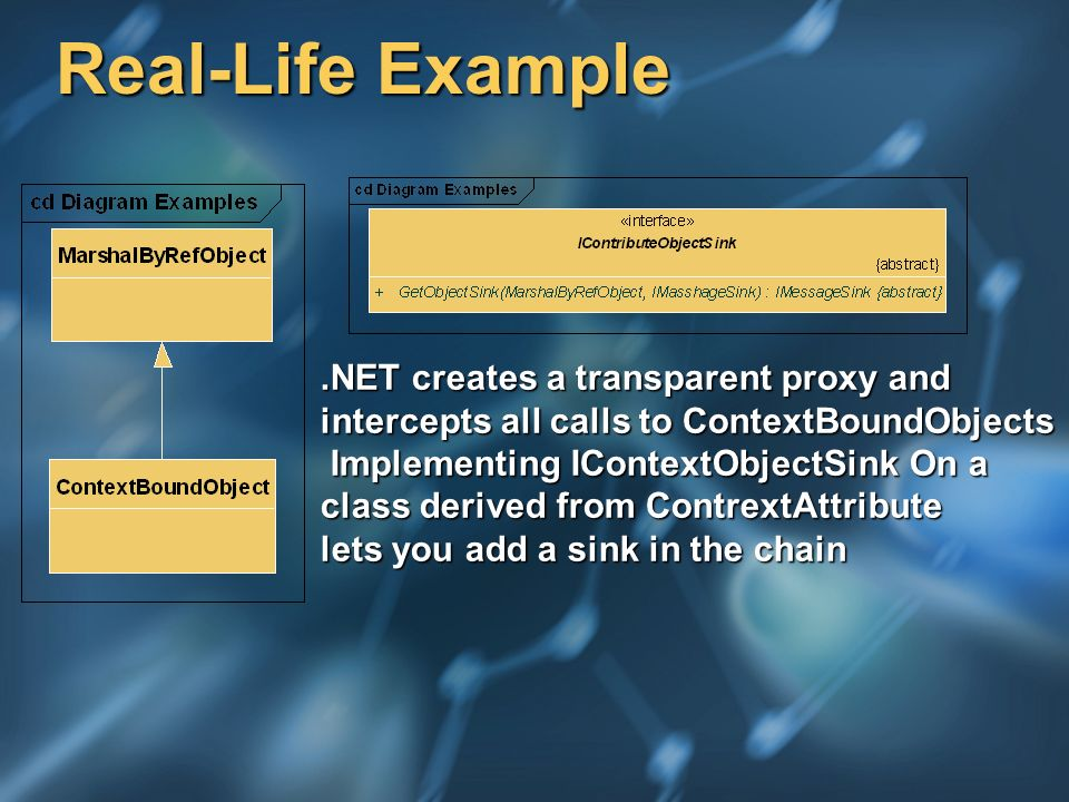 Real-Life Example.NET creates a transparent proxy and intercepts all calls to ContextBoundObjects Implementing IContextObjectSink On a Implementing IContextObjectSink On a class derived from ContrextAttribute lets you add a sink in the chain