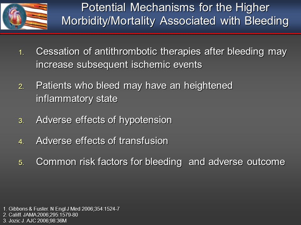 Potential Mechanisms for the Higher Morbidity/Mortality Associated with Bleeding 1.