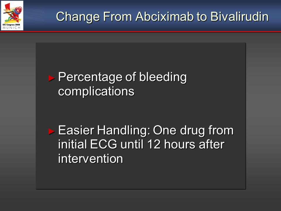 Change From Abciximab to Bivalirudin Percentage of bleeding complications Percentage of bleeding complications Easier Handling: One drug from initial ECG until 12 hours after intervention Easier Handling: One drug from initial ECG until 12 hours after intervention Percentage of bleeding complications Percentage of bleeding complications Easier Handling: One drug from initial ECG until 12 hours after intervention Easier Handling: One drug from initial ECG until 12 hours after intervention