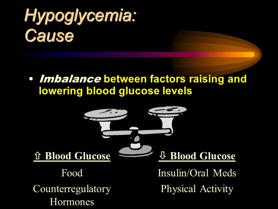 Hypoglycemia: Cause Imbalance between factors raising and lowering blood glucose levels Blood Glucose FoodInsulin/Oral Meds Counterregulatory Hormones Physical Activity