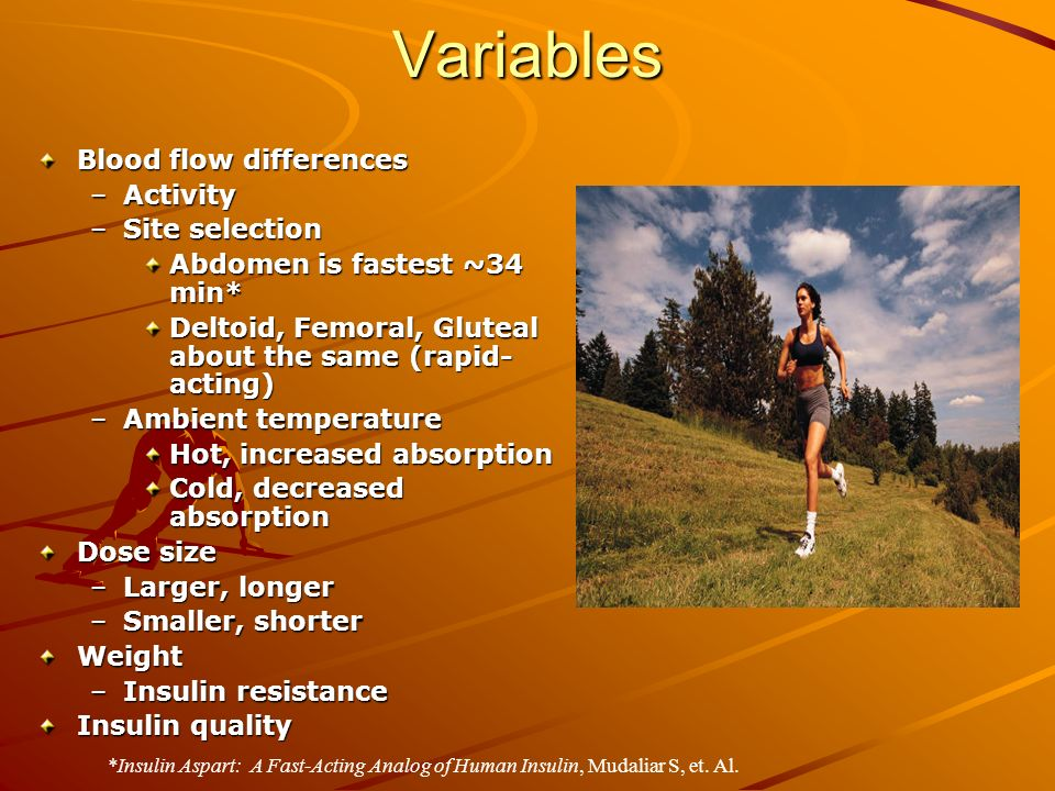 Variables Blood flow differences –Activity –Site selection Abdomen is fastest ~34 min* Deltoid, Femoral, Gluteal about the same (rapid- acting) –Ambient temperature Hot, increased absorption Cold, decreased absorption Dose size –Larger, longer –Smaller, shorter Weight –Insulin resistance Insulin quality *Insulin Aspart: A Fast-Acting Analog of Human Insulin, Mudaliar S, et.