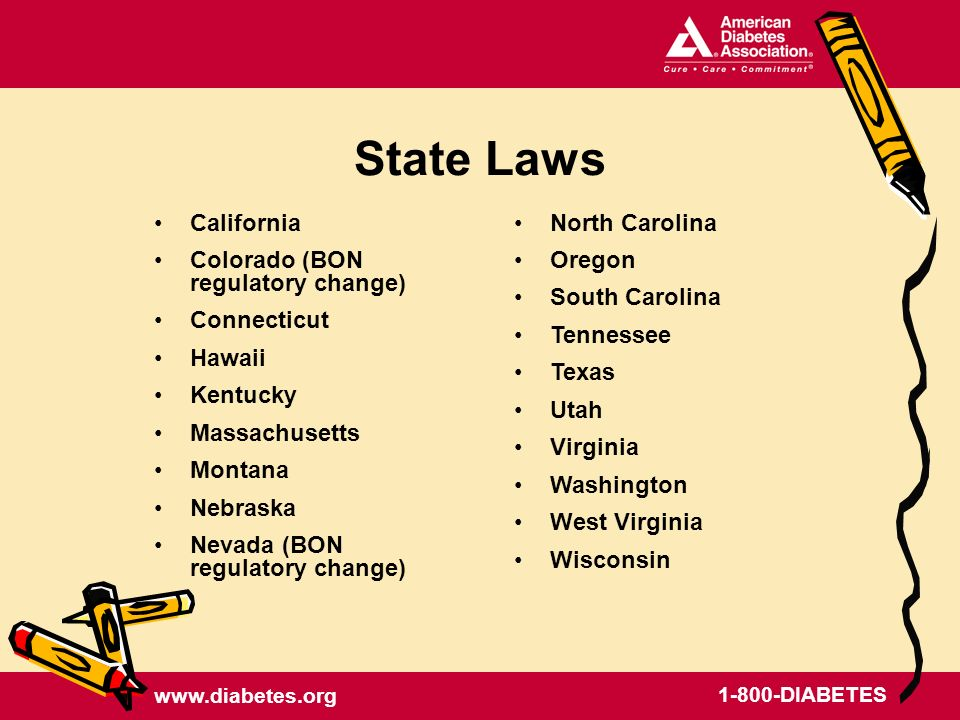 DIABETES State Laws California Colorado (BON regulatory change) Connecticut Hawaii Kentucky Massachusetts Montana Nebraska Nevada (BON regulatory change) North Carolina Oregon South Carolina Tennessee Texas Utah Virginia Washington West Virginia Wisconsin
