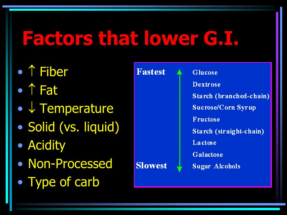 Factors that lower G.I. Fiber Fat Temperature Solid (vs. liquid) Acidity Non-Processed Type of carb