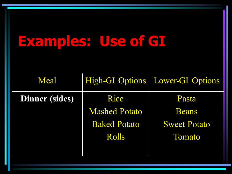 Examples: Use of GI MealHigh-GI OptionsLower-GI Options Dinner (sides)Rice Mashed Potato Baked Potato Rolls Pasta Beans Sweet Potato Tomato