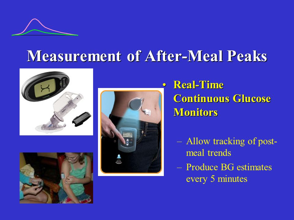 Measurement of After-Meal Peaks Real-Time Continuous Glucose MonitorsReal-Time Continuous Glucose Monitors –Allow tracking of post- meal trends –Produce BG estimates every 5 minutes