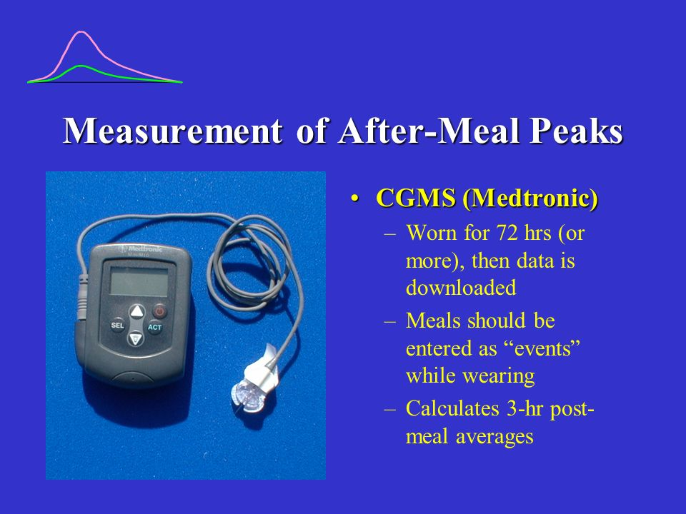 Measurement of After-Meal Peaks CGMS (Medtronic)CGMS (Medtronic) –Worn for 72 hrs (or more), then data is downloaded –Meals should be entered as events while wearing –Calculates 3-hr post- meal averages