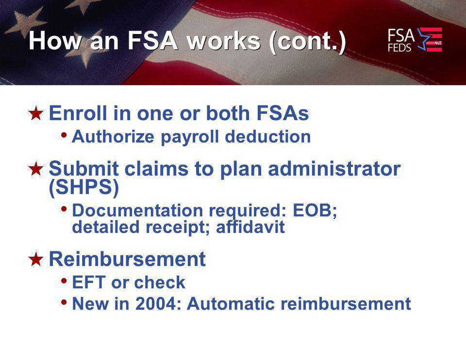 How an FSA works (cont.) Enroll in one or both FSAs Authorize payroll deduction Submit claims to plan administrator (SHPS) Documentation required: EOB; detailed receipt; affidavit Reimbursement EFT or check New in 2004: Automatic reimbursement
