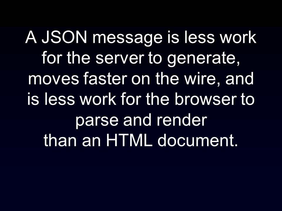 A JSON message is less work for the server to generate, moves faster on the wire, and is less work for the browser to parse and render than an HTML document.