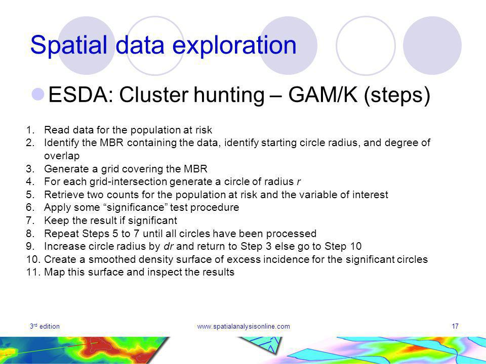 3 rd editionwww.spatialanalysisonline.com17 Spatial data exploration ESDA: Cluster hunting – GAM/K (steps) 1.Read data for the population at risk 2.Identify the MBR containing the data, identify starting circle radius, and degree of overlap 3.Generate a grid covering the MBR 4.For each grid-intersection generate a circle of radius r 5.Retrieve two counts for the population at risk and the variable of interest 6.Apply some significance test procedure 7.Keep the result if significant 8.Repeat Steps 5 to 7 until all circles have been processed 9.Increase circle radius by dr and return to Step 3 else go to Step Create a smoothed density surface of excess incidence for the significant circles 11.Map this surface and inspect the results
