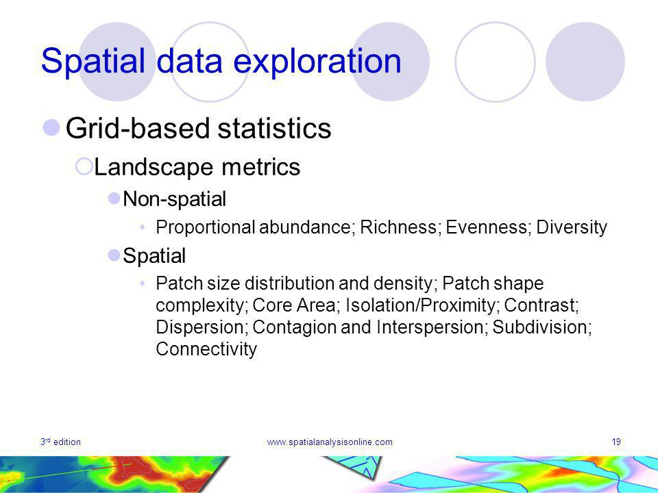 3 rd editionwww.spatialanalysisonline.com19 Spatial data exploration Grid-based statistics Landscape metrics Non-spatial Proportional abundance; Richness; Evenness; Diversity Spatial Patch size distribution and density; Patch shape complexity; Core Area; Isolation/Proximity; Contrast; Dispersion; Contagion and Interspersion; Subdivision; Connectivity