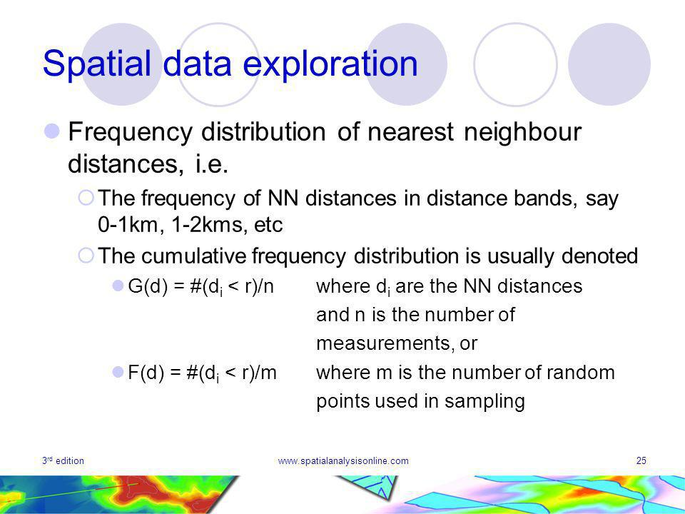 3 rd editionwww.spatialanalysisonline.com25 Spatial data exploration Frequency distribution of nearest neighbour distances, i.e.