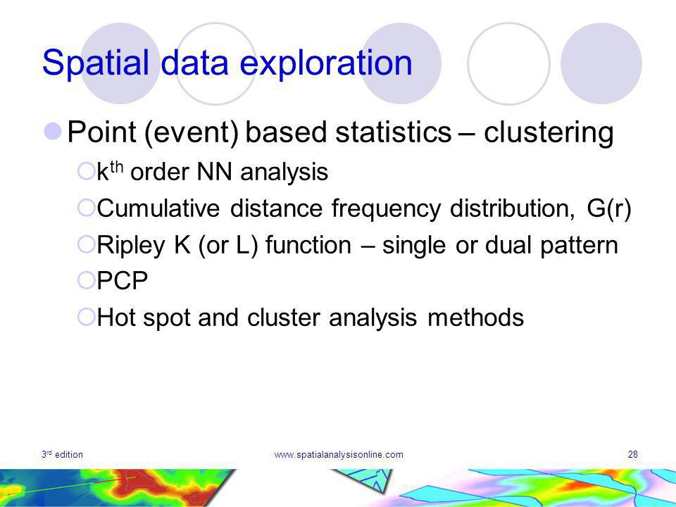 3 rd editionwww.spatialanalysisonline.com28 Spatial data exploration Point (event) based statistics – clustering k th order NN analysis Cumulative distance frequency distribution, G(r) Ripley K (or L) function – single or dual pattern PCP Hot spot and cluster analysis methods