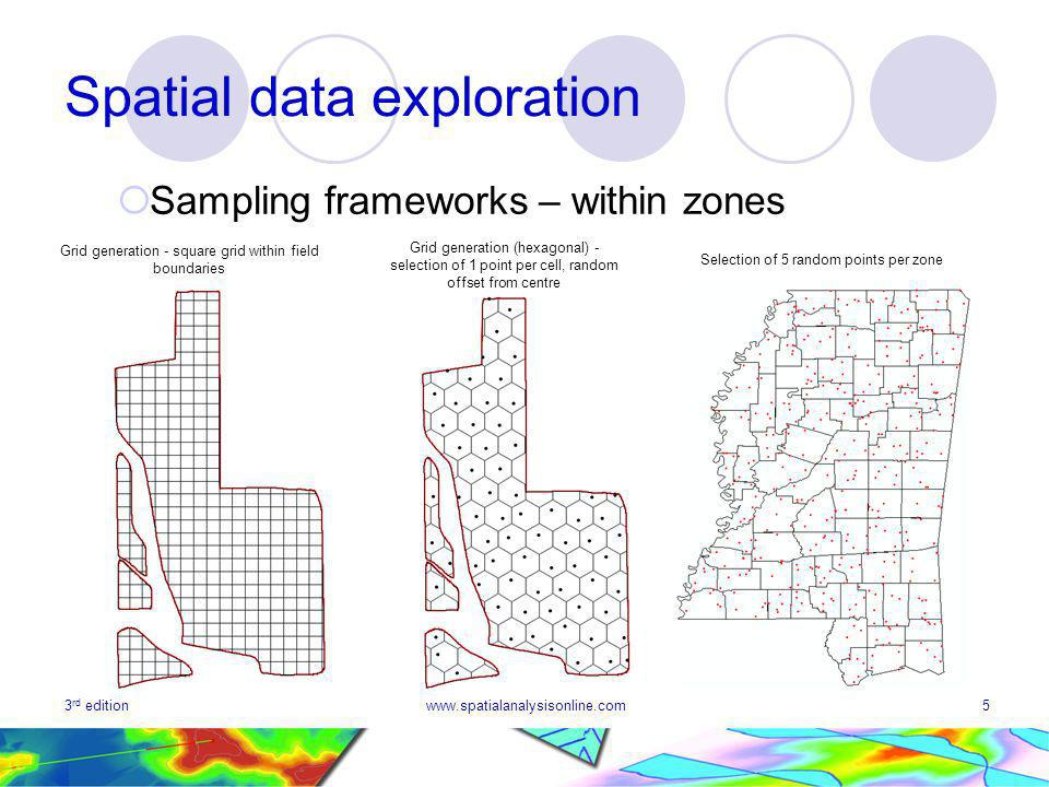3 rd editionwww.spatialanalysisonline.com5 Spatial data exploration Sampling frameworks – within zones Selection of 5 random points per zone Grid generation - square grid within field boundaries Grid generation (hexagonal) - selection of 1 point per cell, random offset from centre