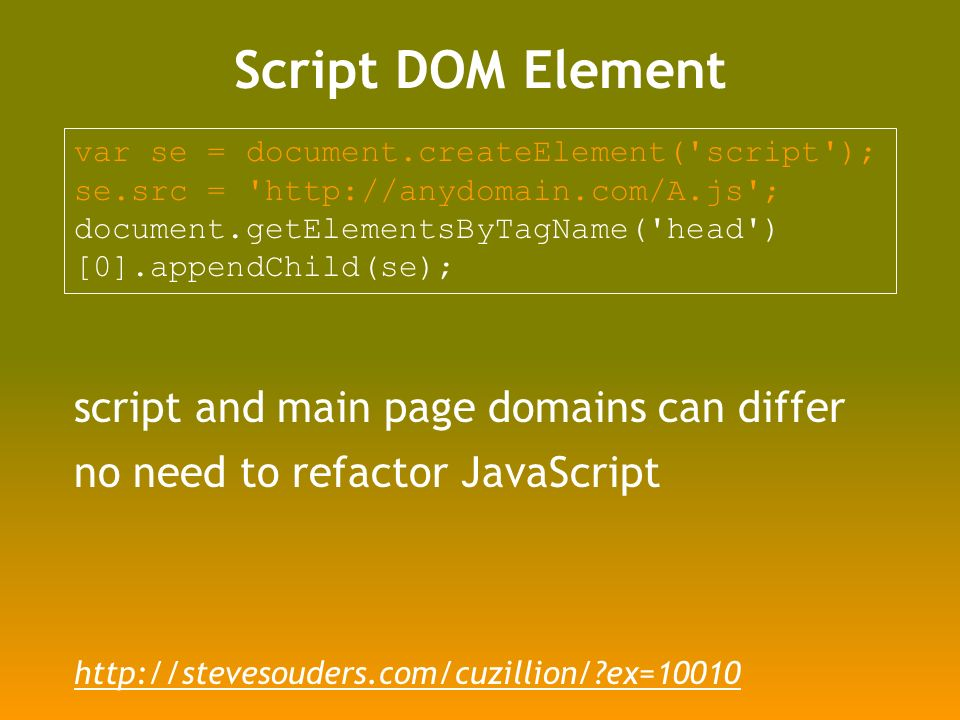 Script DOM Element var se = document.createElement( script ); se.src =   ; document.getElementsByTagName( head ) [0].appendChild(se); script and main page domains can differ no need to refactor JavaScript   ex=10010