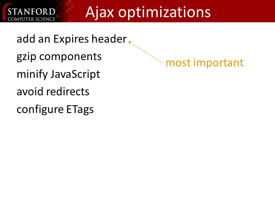 Ajax optimizations add an Expires header gzip components minify JavaScript avoid redirects configure ETags most important