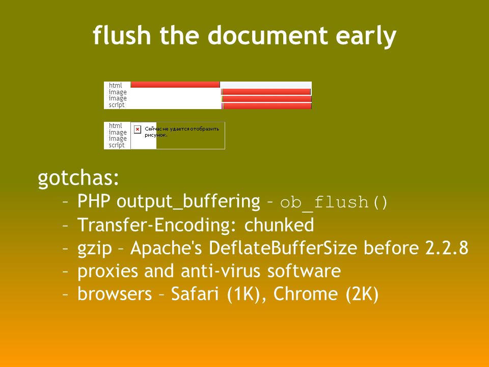 flush the document early gotchas: –PHP output_buffering – ob_flush() –Transfer-Encoding: chunked –gzip – Apache s DeflateBufferSize before –proxies and anti-virus software –browsers – Safari (1K), Chrome (2K) html image script html image script
